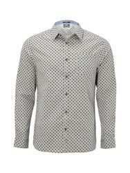 White Stuff Men's Mist Melange Long Sleeve Print Shirt Grey