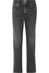 Agolde Cherie Distressed High Rise Straight Leg Jeans Charcoal
