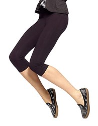 Hue Stretch Cotton Capri Leggings Black