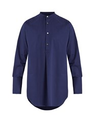 Stella Mccartney Mandarin Collar Cotton Shirt Navy