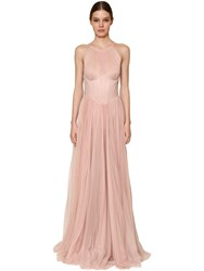 Maria Lucia Hohan Long Polka Dotted Pleated Tulle Dress Pink