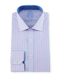English Laundry Check Woven Dress Shirt Pink Blue