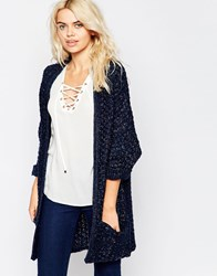 La Fee Verte Thick Knit Oversize Navy Cardigan Marine