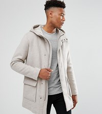 Selected Homme Tall Wool Parka With Padded Lining Snow White Beige