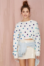 Nasty Gal Joa Snowflake Sequin Sweater