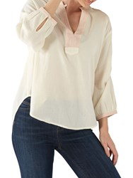 Fat Face Tilda Notch Tunic Top Ivory