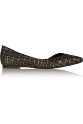 Mcq By Alexander Mcqueen Croc Effect Leather Ballet Flats Black
