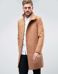 Only And Sons Asymmetric Overcoat Chipmunk Tan