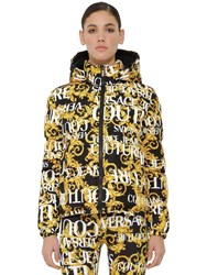 Versace Archive Print Down Jacket Black