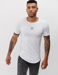 Sik Silk Siksilk Muscle T Shirt With Arm And Chest Logo White