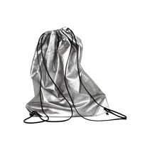 Xenab Lone Anthracite Nappa Leather Drawstring Backpack Silver