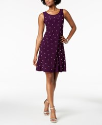 Msk Pearl Embellished Front A Line Dress Luxe Plum