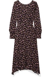 Paul And Joe Floral Print Crepe Midi Dress Black Gbp