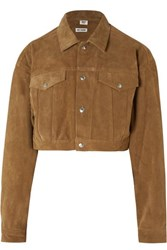 Re Done Cropped Fringed Suede Jacket Mustard