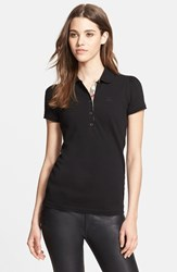 Women's Burberry Brit Check Trim Polo Black