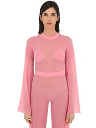 Courreges Gerbe Sheer Stretch Top Pink