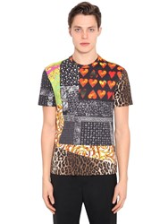 Versace Printed Cotton Blend Jersey T Shirt Multicolor