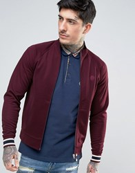 Pretty Green Forston Tricot Track Top Slim Fit In Burgundy Burgun Red