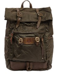 Campomaggi Nylon And Leather Backpack Green