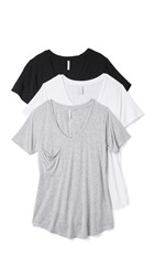 Z Supply Sleek Jersey Pocket Tee 3 Pack Black White Grey