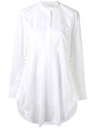 Chloe Side Button Tunic Shirt Women Cotton 36 White