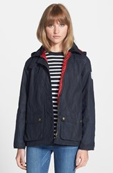Women's Barbour 'Shore' Hooded Waxed Cotton Marine Jacket