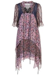 Coach Floral Short Sleeve Flared Dress Purple