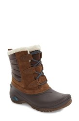The North Face Women's Shellista Ii Waterproof Boot Dark Earth Brown Storm Blue