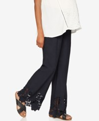 A Pea In The Pod Maternity Lace Hem Wide Leg Pants Navy