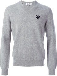 Comme Des Garcons Play Logo Patch V Neck Sweater Grey
