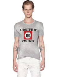 Dsquared United Twins Distressed Cotton T Shirt