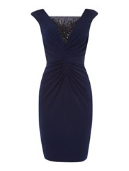 Js Collections Shirred Jersey Cocktail Beaded Dress Navy