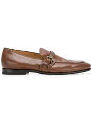 Silvano Sassetti Textured Buckle Loafers Brown