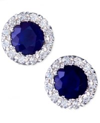 Effy Collection Gemma By Effy Sapphire 7 8 Ct. T.W. And Diamond 1 8 Ct. T.W. Round Button Earrings In 14K White Gold Blue