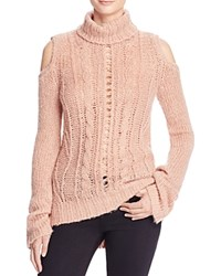 Pam And Gela Cold Shoulder Cable Sweater Pink