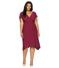 Kiyonna Tessa Ruched Dress Sangria Red