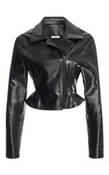 Tome Peplum Crop Leather Jacket Black