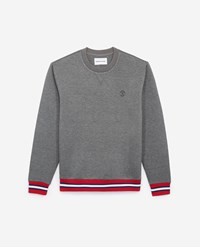 The Kooples Grey Crew Neck Sweatshirt W Tricolour Ribbing