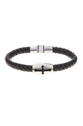 Jean Claude Cross Cutout Genuine Leather Bracelet Brown