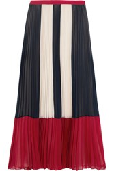 Red Valentino Redvalentino Color Block Plisse Chiffon Maxi Skirt Blue