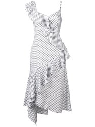 Teija Polka Dot Asymmetric Dress White