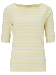 John Lewis Breton Stripe Half Sleeve T Shirt Lemon White