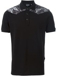 Just Cavalli Printed Yoke Polo Shirt Black