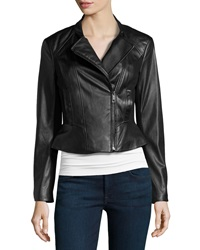 Vakko Faux Leather Ponte Jacket Black