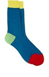 Richard James Ribbed Mid Calf Socks Blue