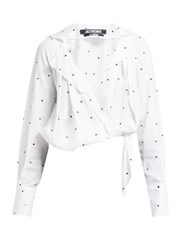 Jacquemus Figari Embroidered Cropped Shirt White Multi