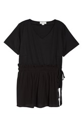 Lost Ink Plus Size Woven Tie Panel Top Black
