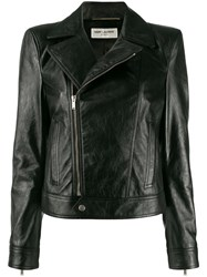 Saint Laurent Zipped Biker Jacket Black