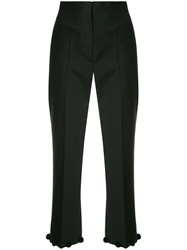 Ports 1961 Pom Pom Hem Cropped Trousers Black