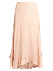 Chloe Flounce Hem Satin Back Crepe Midi Skirt Light Pink